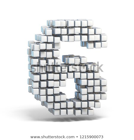 white voxel cubes font number 6 six 3d stock photo © djmilic