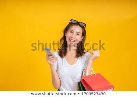 vrouw · betalen · creditcard · hand · glimlach - stockfoto © snowing