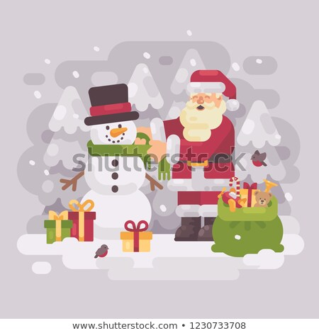 Happy Santa claus giving a scarf to a cute snowman. Christmas fl stock photo © IvanDubovik
