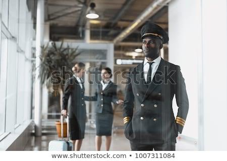Piloot zwarte uniform illustratie achtergrond baan Stockfoto © colematt