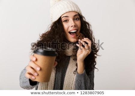Derűs fiatal nő visel tél sál áll Stock fotó © deandrobot
