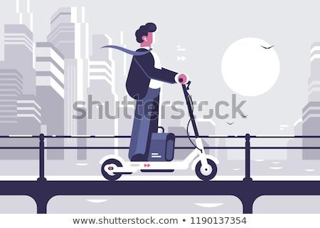üzletember lovaglás moped egyensúlyoz elektromos egyéni Stock fotó © RAStudio