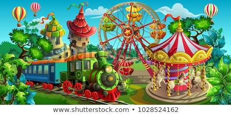 Wesołe miasteczko scena ilustracja zamek vintage cyrku Zdjęcia stock © bluering
