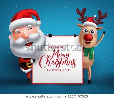 Santa on whiteboard template Stock photo © colematt