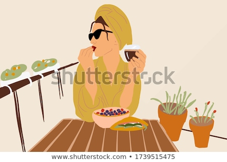 young woman in towel enjoying coffee at home stock photo © artfotodima