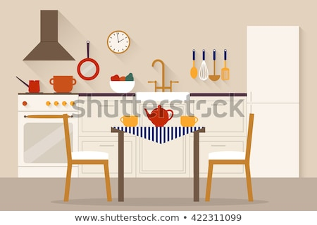 kitchen design vector flat style interior backgrounds red and grey colors stock photo © frimufilms