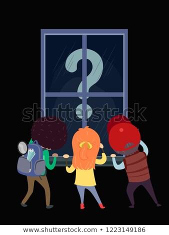 Stickman Kids Window Seeking Question Mark Stock photo © lenm