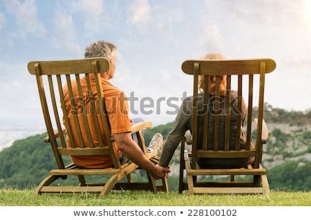 Figyelmes pár megnyugtató park nő kert Stock fotó © wavebreak_media