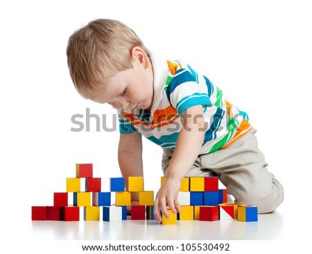 Boldog gyerek játszik építőkockák izolált fehér Stock fotó © Lopolo