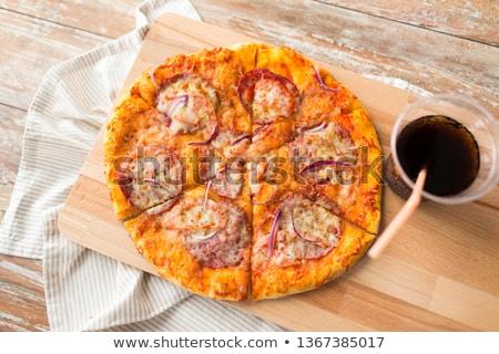 домашний пиццы Cola таблице быстрого питания Сток-фото © dolgachov