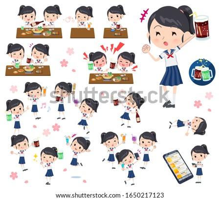 Uczennica marynarz garnitur zestaw dziewczyna cieszyć się Zdjęcia stock © toyotoyo