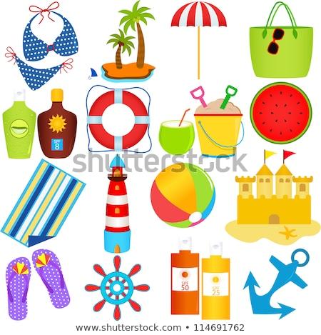 Zomer iconen vector bestand kleur Stockfoto © Palsur