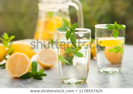 Thé thé vert laisse blanche alimentaire Photo stock © butenkow