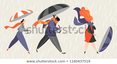Beautiful girl with red scarf and umbrella Stock photo © RuslanOmega