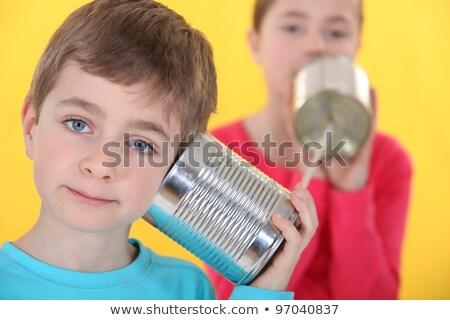 Fivér lánytestvér beszél kötél gyermek űr Stock fotó © photography33