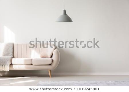 belső · kanapé · lámpa · téglák · fal · család - stock fotó © Ciklamen