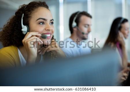 call · center · agente · jovem · mulher · bonita · telefone - foto stock © dash