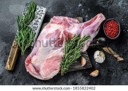 nyers · bárány · láb · tábla · család · étel - stock fotó © cynoclub