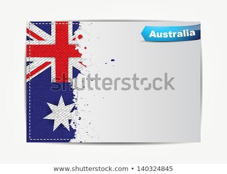 Stitched Australia flag with grunge paper frame Stock photo © maxmitzu