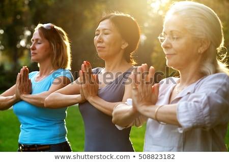 klasse · permanente · namaste · pose · yoga · portret - stockfoto © szefei
