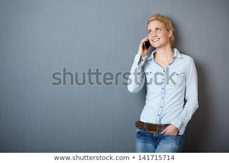 szőke · nő · mobiltelefon · szürke · lány · arc - stock fotó © lunamarina