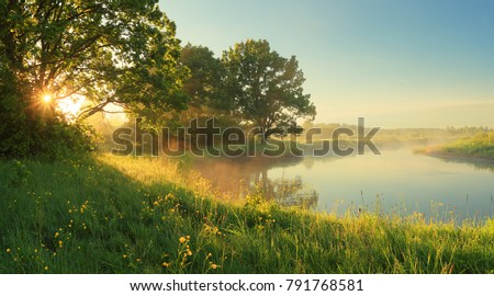 Foto stock: Lake And Green Landscape
