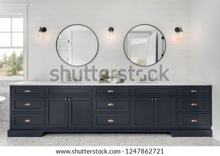 Faliszekrény fürdőszoba piperecikkek modern belső szoba Stock fotó © timbrk