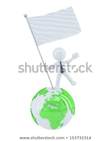 üzletember zászló felső földgömb izolált fehér Stock fotó © Kirill_M