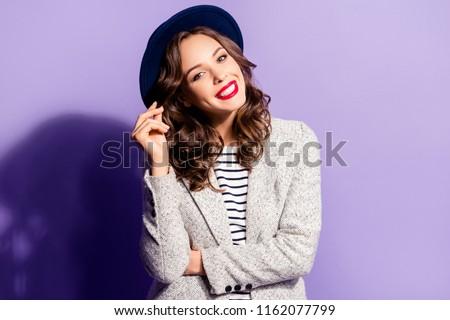 Beleza retrato feliz sorridente menina lábios vermelhos Foto stock © Victoria_Andreas