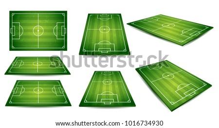 Voetbal toonhoogte groen gras cirkels vorm voetbal Stockfoto © Lizard