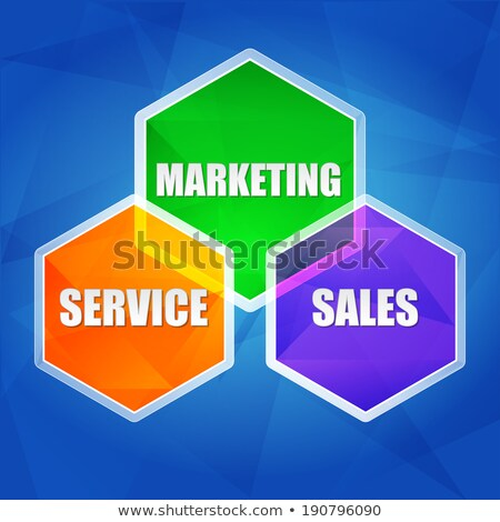 service marketing sales in hexagons flat design stock photo © marinini