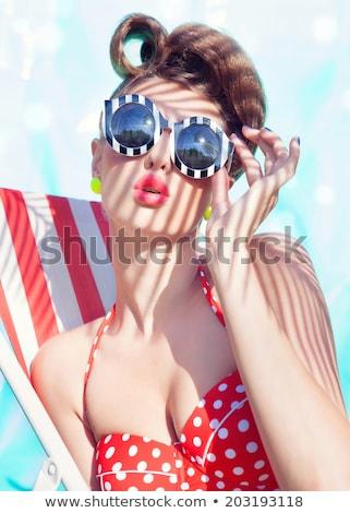 menina · inflável · colchão · piscina · jovem · sorridente - foto stock © nejron