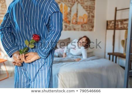笑い 女性 夫 バラ 女性 笑顔 ストックフォト © majdansky