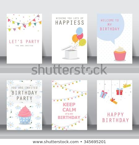 mutlu · yıllar · kart · pastel · balonlar · eğim - stok fotoğraf © adamson