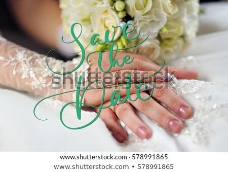 love wording and rings on soft white dress Stock photo © vinnstock