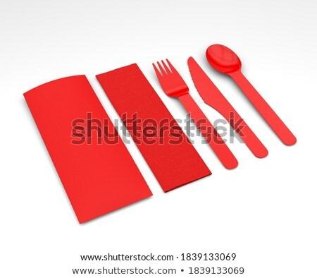 Rot Kunststoff Löffel isoliert weiß Hintergrund Stock foto © gavran333