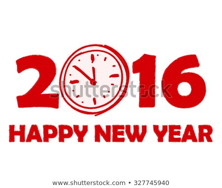 Happy New Year 2016 With Clock Sign In Red Drawn Banner Foto stock © marinini
