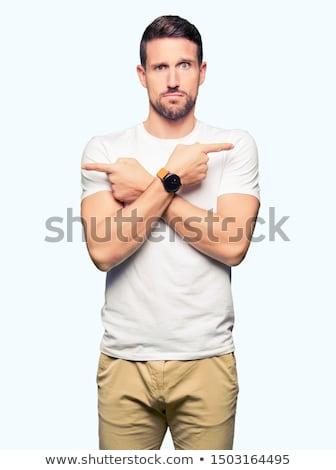 jeune · homme · gestes · mains · visage · mode · hommes - photo stock © Paha_L