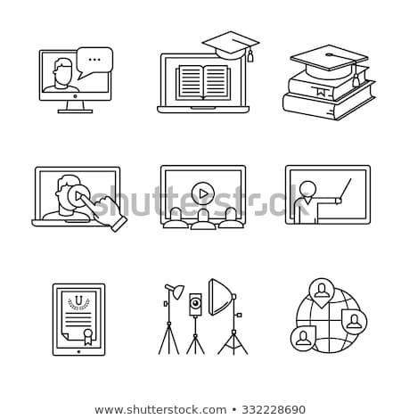 Open · boek · lijn · icon · web · mobiele · infographics - stockfoto © rastudio