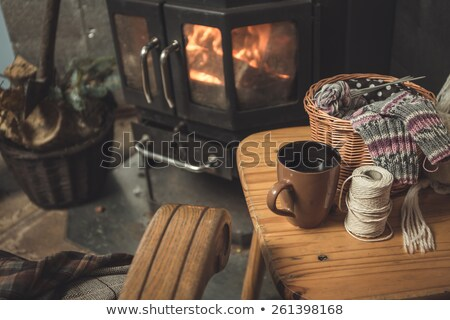 kényelmes · fotel · kandalló · modern · üveg · tv · készülék - stock fotó © jrstock