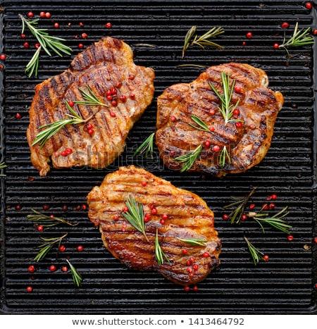 a · la · parrilla · cerdo · cuello · carne · tenedor - foto stock © digifoodstock
