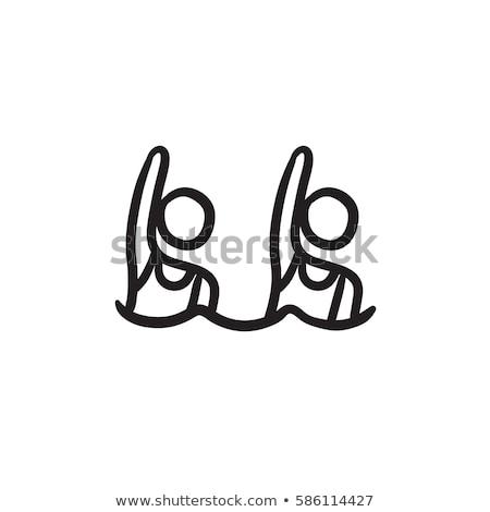 プール · スイマー · スケッチ · アイコン · ウェブ · 携帯 - ストックフォト © rastudio
