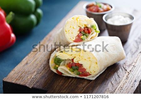 kahvaltı · ahşap · tahta · ahşap · masa · yumurta · biber - stok fotoğraf © Peteer