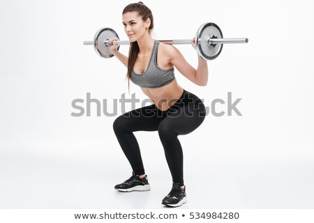 fitness woman with barbells on white background, isolated Stock photo © Nobilior