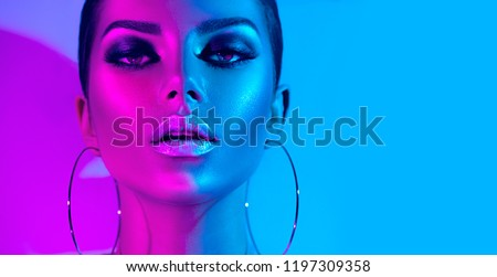 young fashion woman face portrait with make up stock photo © cienpies