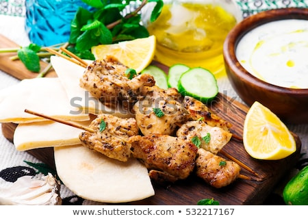 Marinated Chicken Souvlaki Stok fotoğraf © zoryanchik