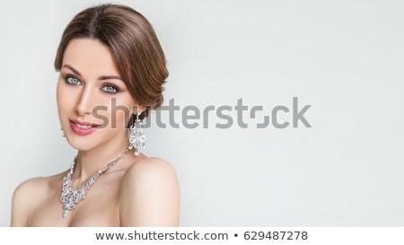 gülümseyen · kadın · beyaz · elbise · elmas · yüzük · nişan · kutlama · düğün - stok fotoğraf © dolgachov