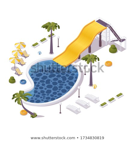 Aqua park water tube isometric 3D element stock photo © studioworkstock