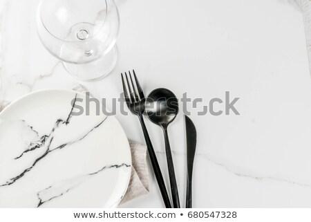 oude · zilver · lepels · houten · tafel · voedsel - stockfoto © valeriy