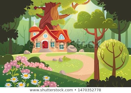 Rejtély ház erdő illusztráció fa művészet Stock fotó © colematt